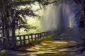 Картинка дорога, деревья, ограда, нарисованный пейзаж