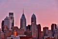 Картинка город, рассвет, свечение, утро, USA, Филадельфия, небоскрёбы