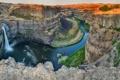Картинка горы, река, скалы, водопад, каньон