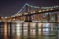 Картинка ночь, мост, город, огни, NYC, Manhattan Bridge