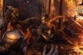 Картинка ночь, дом, пожар, огонь, ребенок, меч, защита