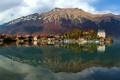 Картинка город, река, гора, дома, Швейцария, Берн Изельтвальд