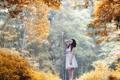 Картинка лес, девушка, деревья, радость, улыбка, Осень, платье