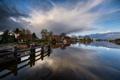 Картинка река, причал, вода, Нидерланды, вечер, Nauerna, лодки