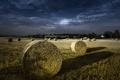 Картинка поле, пейзаж, ночь, сено