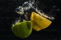 Картинка вода, пузырьки, обои, лимон, лайм