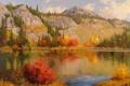 Картинка пейзаж, осень, гряда, облака, озеро, деревья, природа