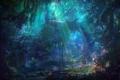 Картинка лучи, цветы, поляна, Лес, водоем