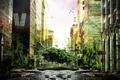 Картинка зелень, вода, птицы, фантастика, заросли, улица, дома