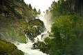 Картинка лес, туман, природа, водопад, дымка, пар
