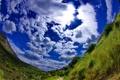 Картинка облака, поле, небо, трава, панорама