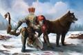 Картинка девушка, снег, кровь, волк, лук, арт, Guild Wars 2