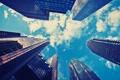 Картинка ракурс, город, небоскрёб, небо, облака, вид