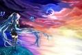 Картинка море, девушка, звезды, бабочки, закат, луна, берег