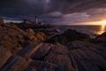Картинка море, солнце, тучи, скалы, маяк, утро, Портленд