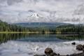 Картинка лес, снег, природа, озеро, отражение, камни, гора