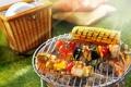 Картинка огонь, мясо, шашлыки, природа, овощи, еда, пикник
