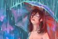 Картинка взгляд, девушка, лицо, зонтик, дождь, волосы, арт