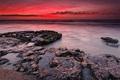 Картинка пейзаж, природа, камни, океан, рассвет
