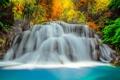 Картинка осень, лес, деревья, река, камни, цвет, водопад