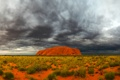 Картинка небо, облака, пустыня, гора
