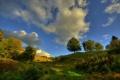 Картинка облака, небо, трава, деревья, холмы