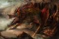Картинка скала, замок, дракон, гора, монстр, защита, арт