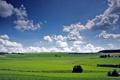 Картинка облака, долина, небо, деревья, поля