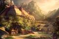 Картинка деревья, горы, здания, хижины, храм, ацтеки