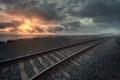 Картинка железная дорога, утро, туман