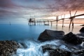 Картинка закат, пейзаж, мост, море