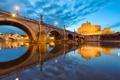 Картинка мост, огни, отражение, река, Рим, Италия