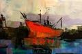 Картинка фон, корабль, картина