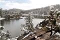 Картинка снег, пейзаж, горы, озеро