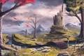 Картинка осень, деревья, тучи, мост, ручей, башня, арт
