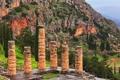Картинка храм Аполлона, горы, Дельфы, Греция, деревья