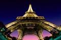 Картинка небо, огни, снизу, Эйфелева башня