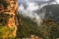 Картинка облака, деревья, горы, камни, скалы, Австралия, Сидней