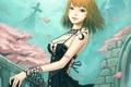 Картинка ветер, узор, Девушка, лепестки, сакура, платье, развалины