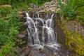 Картинка лес, река, камни, скалы, водопад