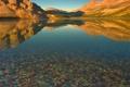 Картинка небо, закат, горы, озеро, камни, цвет
