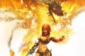 Картинка девушка, огонь, магия, дракон, меч, голова, Beast Rider