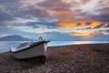 Картинка залив, горы, Греция, лодка, рассвет