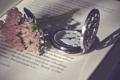 Картинка цветы, текст, буквы, часы, книга, страницы