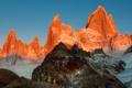 Картинка небо, закат, горы, вершины, цвет, пик