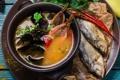 Картинка моллюски, суп, зелень, рыба, специи