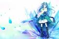 Картинка меч, арт, девочка, белый фон, кристаллы, голубые волосы, skycrystali