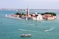 Картинка море, остров, башня, дома, Италия, церковь, Венеция