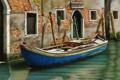 Картинка двери, Венеция, канал, дом, гондола, окна, решетки