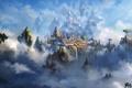 Картинка облака, здания, Liang xing, высота, летающие скалы, арт, горы